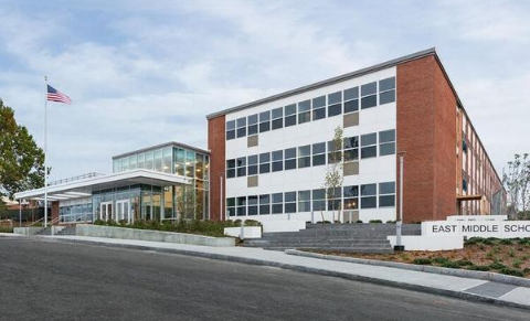 Painting is complete at the new 185,000 sf - $83M - Braintree East Middle School in Braintree, MA for Shawmut Construction.